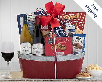 Wild Horse Duet Red, White and Blue Wine Basket Gift Basket  Free Shipping