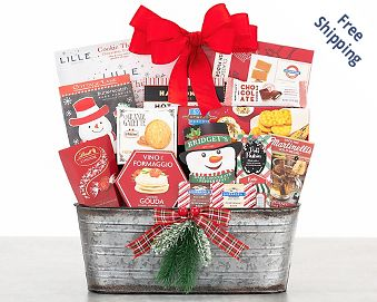 Merry Christmas Gourmet Gift Basket FREE SHIPPING