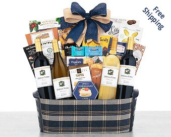California Red and White Wine Quartet Gift Basket FREE SHIPPING