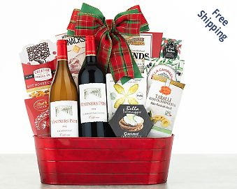 Little Lakes Cellars Holiday Tidings Wine Basket FREE SHIPPING