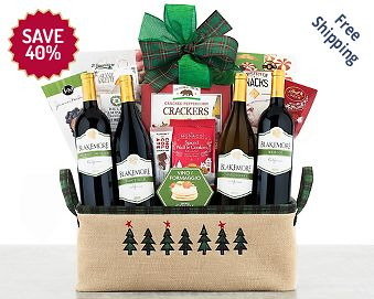 Vintners Path Holiday Quartet Wine Basket FREE SHIPPING 40% Save Original Price is $ 100.00