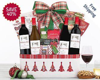 Vintners Path Holiday Quartet Wine Basket FREE SHIPPING 40% Save Original Price is $ 100.00
