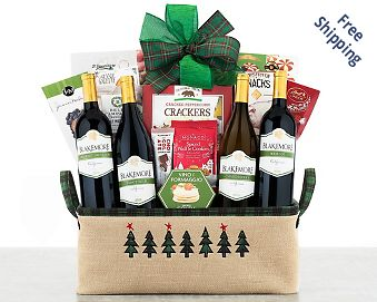Kiarna Vineyards Holiday Quartet Wine Basket Gift Basket  Free Shipping