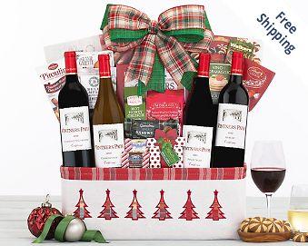 Vintners Path Holiday Quartet Wine Basket FREE SHIPPING