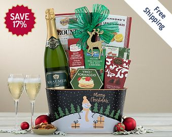 Kraemer Blanc De Blancs Sparkling Christmas Basket FREE SHIPPING 17% Save Original Price is $ 115.00