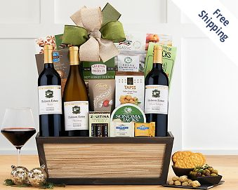 California Red and White Wine Trio Gift Basket FREE SHIPPING