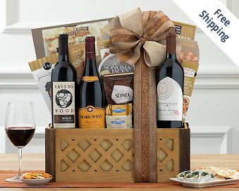 California Red Wine Trio Gift Basket FREE SHIPPING