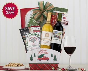 Wine adn Cheese Happy Holidays Gift Basket  35% Save Original Price is $ 120